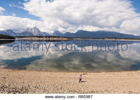 Woman walks along shore of Jackson Lake in Grand Teton National Park.  Mountains and clouds are reflected on the lake surface - Stock Photo