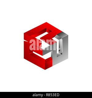 Abstract three dimensional hexagon shaped colorful vector symbol - Stock Photo