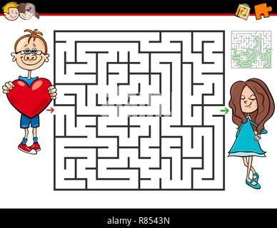 Cartoon Illustration of Education Maze or Labyrinth Activity Game for Kids with Boy in Love and Girl - Stock Photo