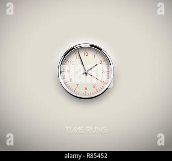 Realistic round clock cut out in white background. Red round scale and numbers. Chrome stainless steel frame ring. Vector icon design or ui screen - Stock Photo