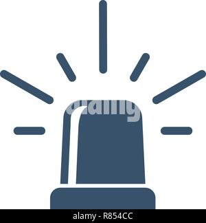 Police Or Ambulance Flasher Siren Isolated On A White Background. Vector Icon Illustration. - Stock Photo