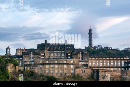 Edinburgh grand buildings in Winter dawn. St Andrews House, Scottish Government headquarters, and Calton Hill monuments, Scotland, UK - Stock Photo