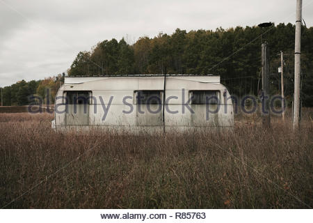 Abandoned trailer park in North Michigan, USA - Stock Photo