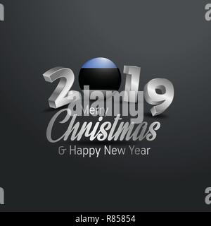 Estonia Flag 2019 Merry Christmas Typography. New Year Abstract Celebration background - Stock Photo