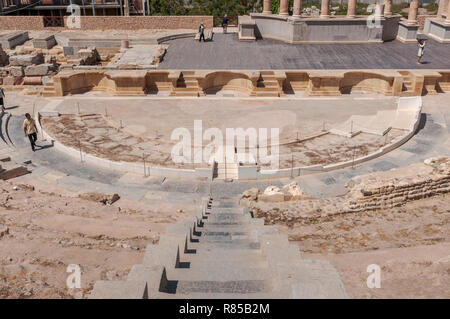 Views of the Roman Theatre of Cartagena, Spain. It was built between 5 and 1 BC. - Stock Photo