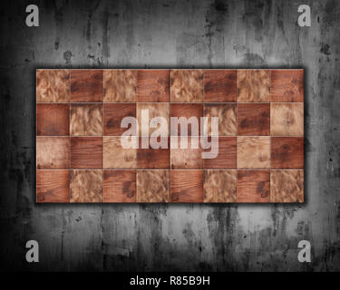 checkerboard squares on a concrete wall background - Stock Photo
