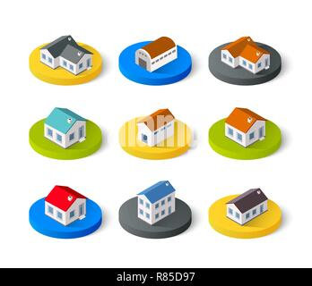 Set of isometric 3D icons house home. Residence building the city landscape three-dimensional vector symbol concept - Stock Photo