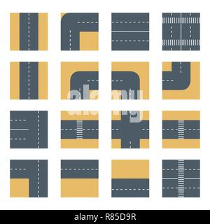 Flat top view Set icons road highway. Concept kit of design elements for modeling urban vector maps and plans - Stock Photo
