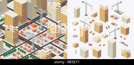 Industrial construction isometrics in the big city skyscrapers under construction, houses and buildings - Stock Photo