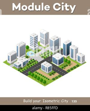 Isometric urban set of the city infrastructure town, street modern, real structure, architecture 3d elements different buildings - Stock Photo