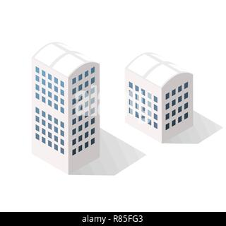 Isometric urban icon set of the city infrastructure town, street modern, real structure, architecture 3d elements different buildings - Stock Photo