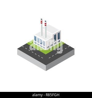 Isometric urban icon perspective view on factory building vector in dimensional style. 3d element building manufacturing and producing - Stock Photo