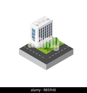 Isometric urban icon of the city infrastructure town, street modern, real structure, architecture 3d elements different buildings - Stock Photo