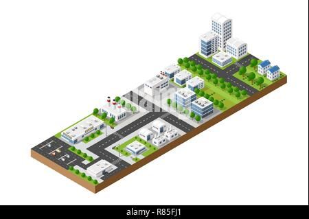 Isometric urban top view of the city infrastructure town, street modern, real structure, architecture 3d elements different buildings - Stock Photo
