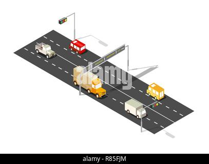 City boulevard isometric avenue. Transport car, urban and asphalt, traffic. Crossing roads flat 3d dimensional illustration of public town transport. - Stock Photo