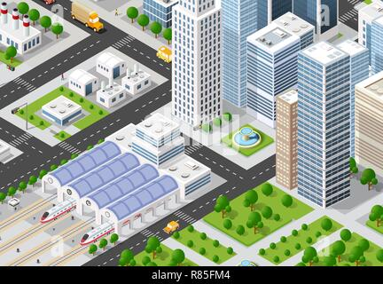 Isometric urban megalopolis top view of the city infrastructure town, street modern, real structure, architecture 3d elements different buildings - Stock Photo