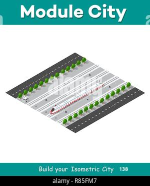 Fast modern high speed train. Vector flat 3d isometric illustration of public transport. Freight transportation to carry large numbers of passengers.  - Stock Photo