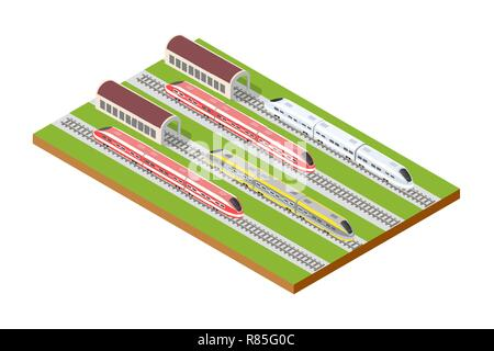 Illustration isometric high-speed train on the tracks in the city block near the hangar warehouse building - Stock Photo