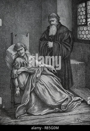 Ulrich von Hutten (1488-1523). German scholar, poet and critic of the Catholicism. Last moments. Engraving by Germania, 1882. - Stock Photo