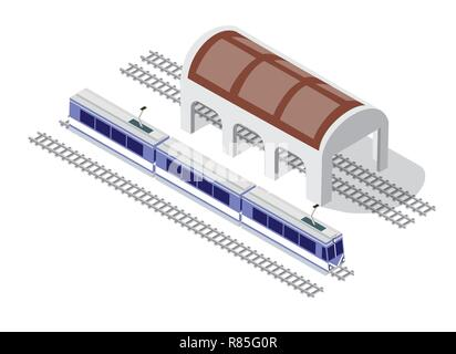 Illustration isometric high-speed train metro on the tracks in the city block near the hangar warehouse building - Stock Photo