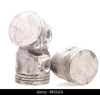 automobile pistons isolated on white - Stock Photo