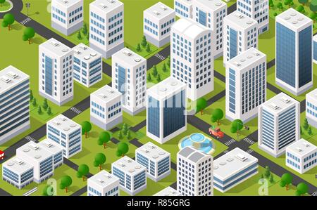 Isometric 3D metropolis city quarter with streets, skyscrapers, trees and houses. Urban landscape top view - Stock Photo