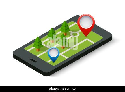 Isometric 3D navigation sign and pin symbol on mobile phone city urban map indicating the location and direction - Stock Photo
