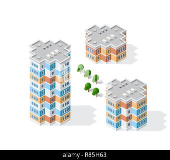 Isometric 3D landscape of the city. Top view of dimensional town modern houses and skyscrapers of urban blocks - Stock Photo