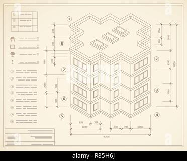 Blueprint isometric plan of a residential building. Drawing of the jotting sketch of the construction and the industrial skeleton of the structure wit - Stock Photo