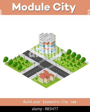 City block quarter district isometric 3D landscape of the town. Top view of dimensional area modern houses and skyscrapers of urban blocks - Stock Photo
