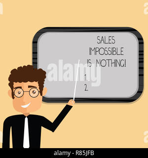 Word writing text Sales Impossible Is Nothing. Business concept for Everything can be sold Business strategies Man Standing Holding Stick Pointing to  - Stock Photo