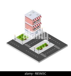 Isometric 3D city - Stock Photo