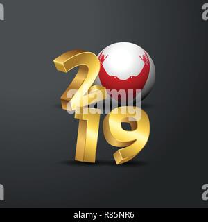 2019 Golden Typography with Easter Island Rapa Nui Flag. Happy New Year Lettering - Stock Photo