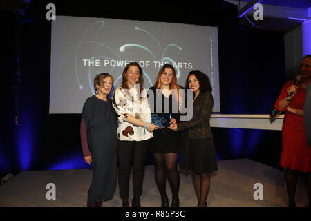 Berlin, Germany. 12th Dec 2018. Jury Member Erika Hoffmann (left) and the winners Weiter Schreiben (Berlin).  On the 12th of December the solemn award ceremony of the initiative 'The Power of the Arts' takes place for the second time in Berlin. With 200,000 euros it is the highest endowed prize for cultural participation in Germany. Credit: SAO Struck/Alamy Live News - Stock Photo