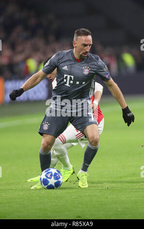 Amsterdam, Netherlands. 12th December, 2018. Franck Ribery (Bayern Munich)  during the UEFA Champions League, Group E football match between Ajax and Bayern Munich on December 12, 2018 at Johan Cruijff ArenA in Amsterdam, Netherlands - Photo Laurent Lairys / DPPI Credit: Laurent Lairys/Agence Locevaphotos/Alamy Live News - Stock Photo