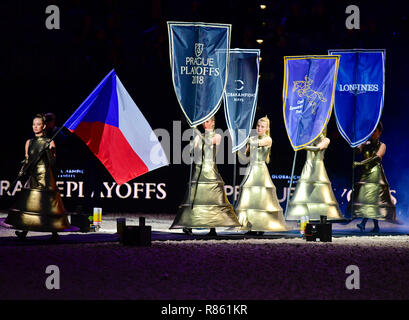 Prague, Czech Republic. 13th Dec, 2018. Ceremonial opening of Global Champions League show jumping contest Team Supercup in Prague, Czech Republic, December 13, 2018. Credit: Roman Vondrous/CTK Photo/Alamy Live News - Stock Photo