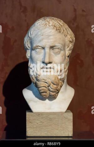 Berlin. Germany. Portrait bust of ancient Greek historian Herodotus of Halicarnassus (ca. 480 BC – ca. 420 BC), 2nd century AD Roman copy of a Greek o - Stock Photo