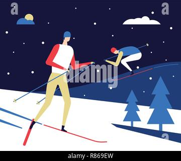 Winter sports, skiing - flat design style colorful illustration - Stock Photo