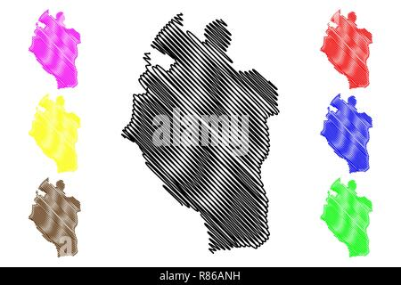 Kabaena Island (Subdivisions of Indonesia, Provinces of Indonesia) map vector illustration, scribble sketch Kabaena map - Stock Photo