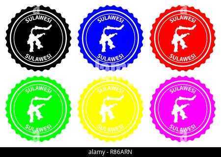 Sulawesi - rubber stamp - vector, Celebes map pattern - sticker - black, blue, green, yellow, purple and red - Stock Photo