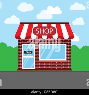 Commerce, shop, store icon. Vector illustration. Building - Stock Photo