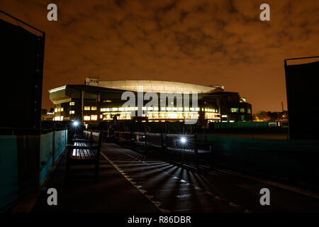 General view exterior shots of Centre Court at night during the Wimbledon Championships 2019 - Stock Photo