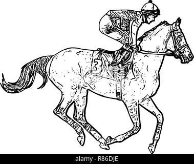 Jockey Riding Race Horse Drawing