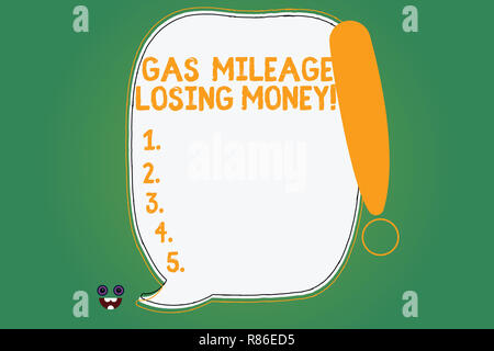 Writing note showing Gas Mileage Losing Money. Business photo showcasing Long road high gas fuel costs financial losses Blank Color Speech Bubble Outl - Stock Photo