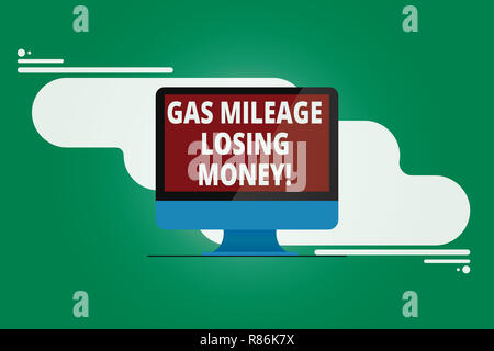 Writing note showing Gas Mileage Losing Money. Business photo showcasing Long road high gas fuel costs financial losses Mounted Computer Monitor Blank - Stock Photo