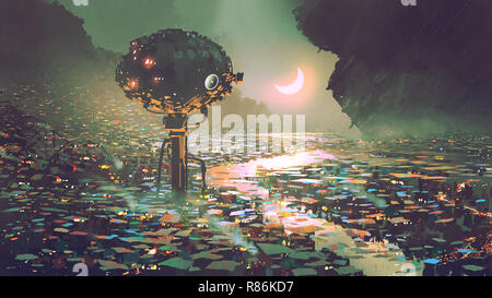 scenery of futuristic tower in dystopian city, digital art style, illustration painting - Stock Photo