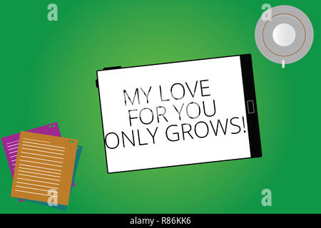 Writing note showing My Love For You Only Grows. Business photo showcasing Expressing roanalysistic feelings good emotions Tablet Screen Cup Saucer an - Stock Photo