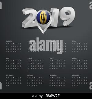 2019 Calendar Template. Grey Typography with Barbados Country Map Golden Typography Header - Stock Photo
