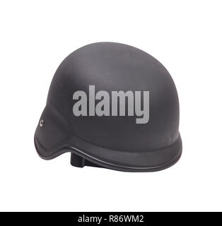 Old Military Helmet Isolated on White - Stock Photo