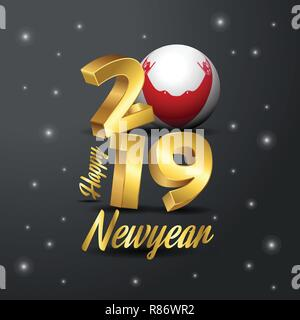 2019 Happy New Year Easter Island Rapa Nui Flag Typography. Abstract Celebration background - Stock Photo